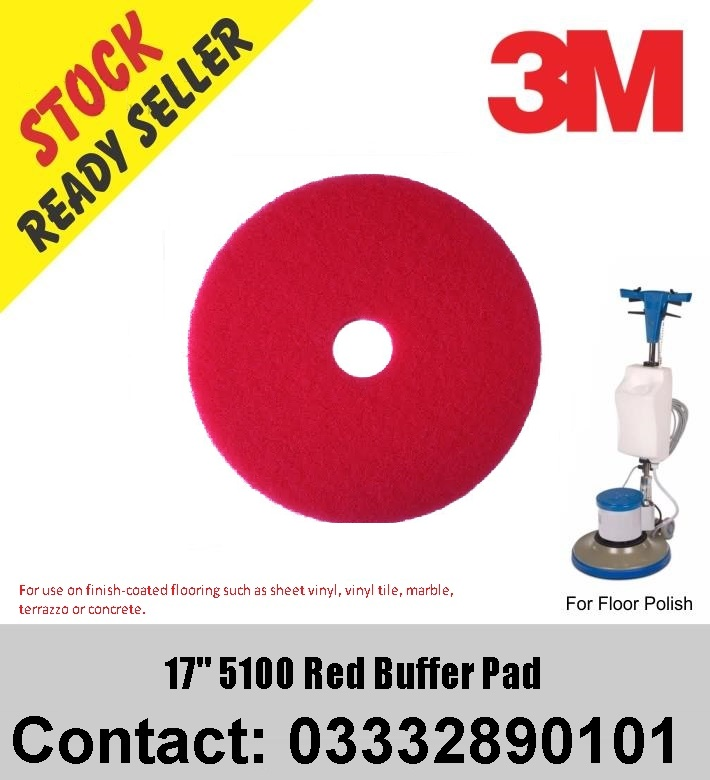 """Box Of 5 New 3M 17/"""" Red Buffer 5100 Floor Pads"""